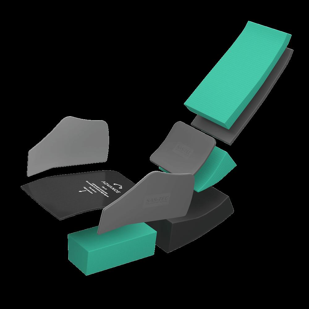 Planche, mousse de protection et éléments SAS-TEC